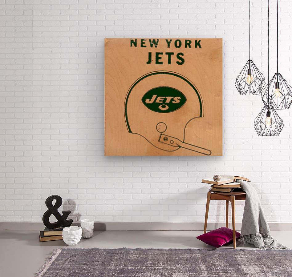 1971 New York Jets Vintage Helmet Art  Wood print
