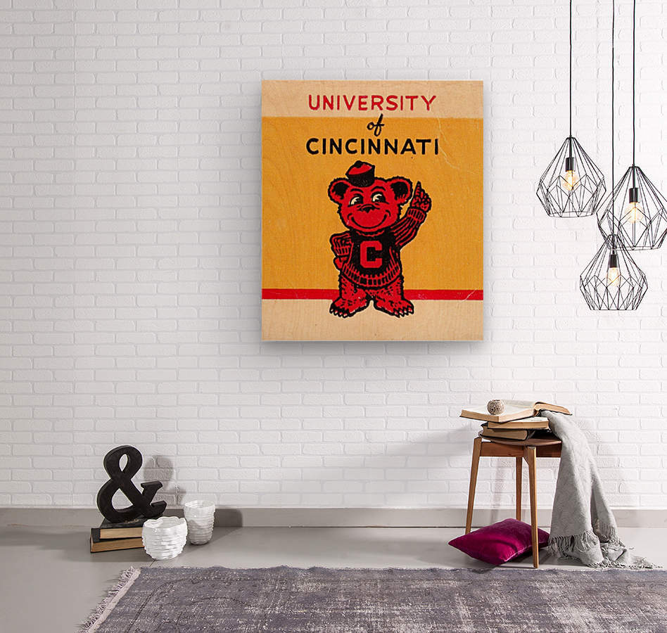 Vintage University of Cincinnati Art Reproduction  Wood print