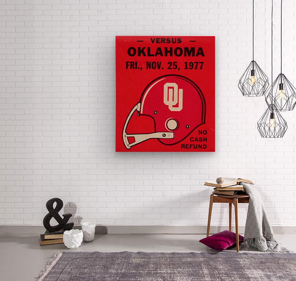 1977 Oklahoma Sooners Helmet Art  Wood print