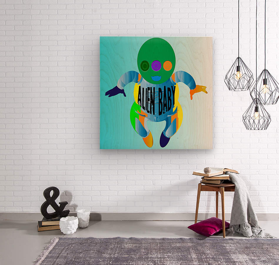 Alien Baby  Wood print