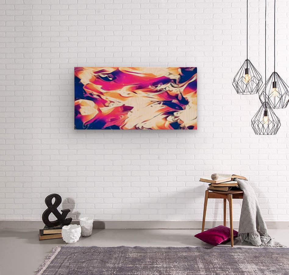 Very Berry - white blue pink orange swirl abstract wall art  Wood print