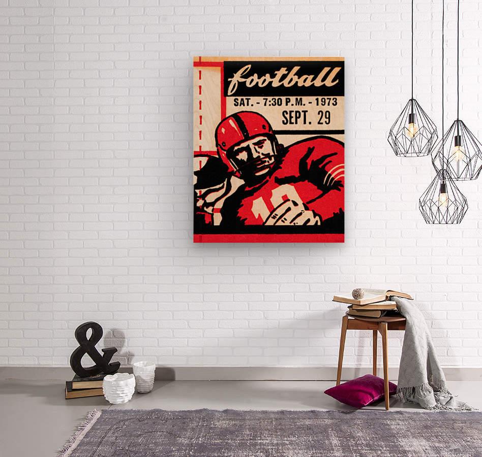 Vintage Football Art_Quarterback Artwork_Vintage Ticket Toss  Wood print