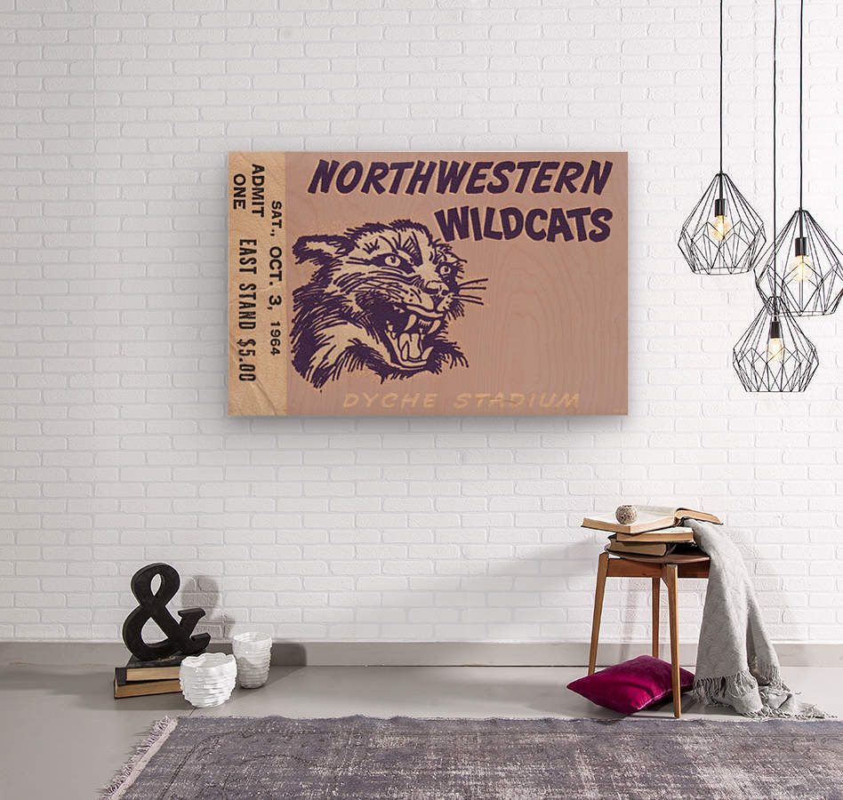 Northwestern University Wildcats College Football Wall Art Ticket Stub  Wood print