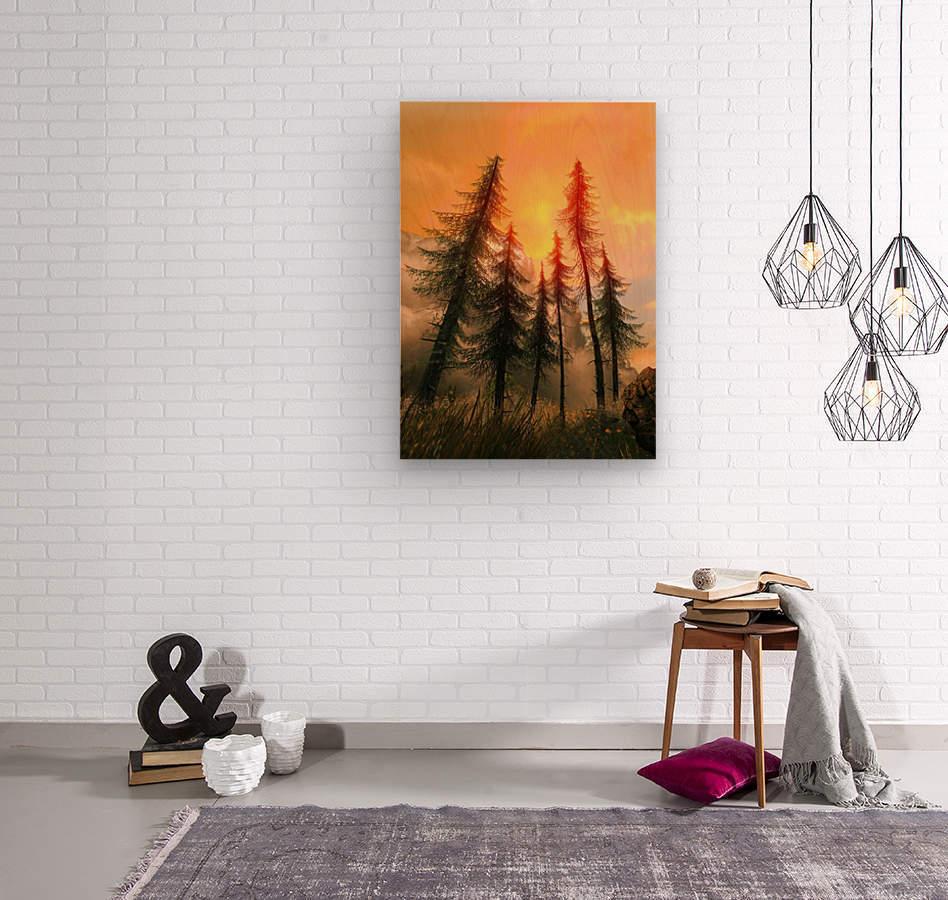 Pine Woods Sunset Fantasy  Wood print