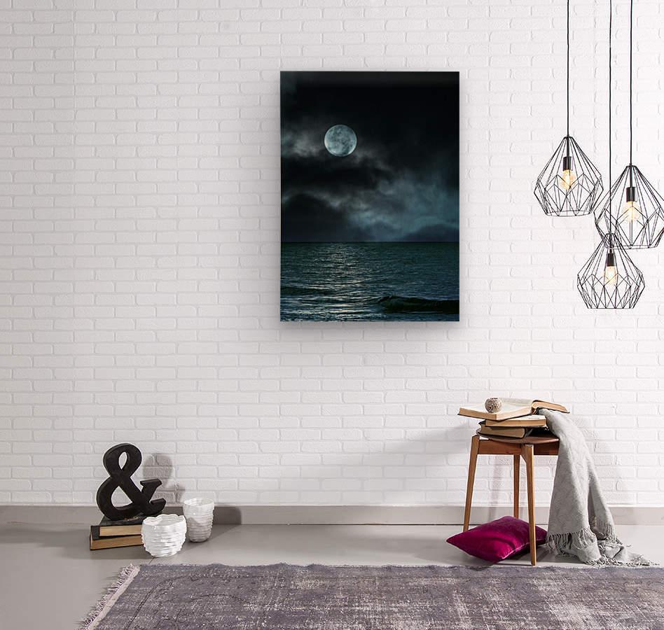 Cloudy Moon Shore at Night  Wood print