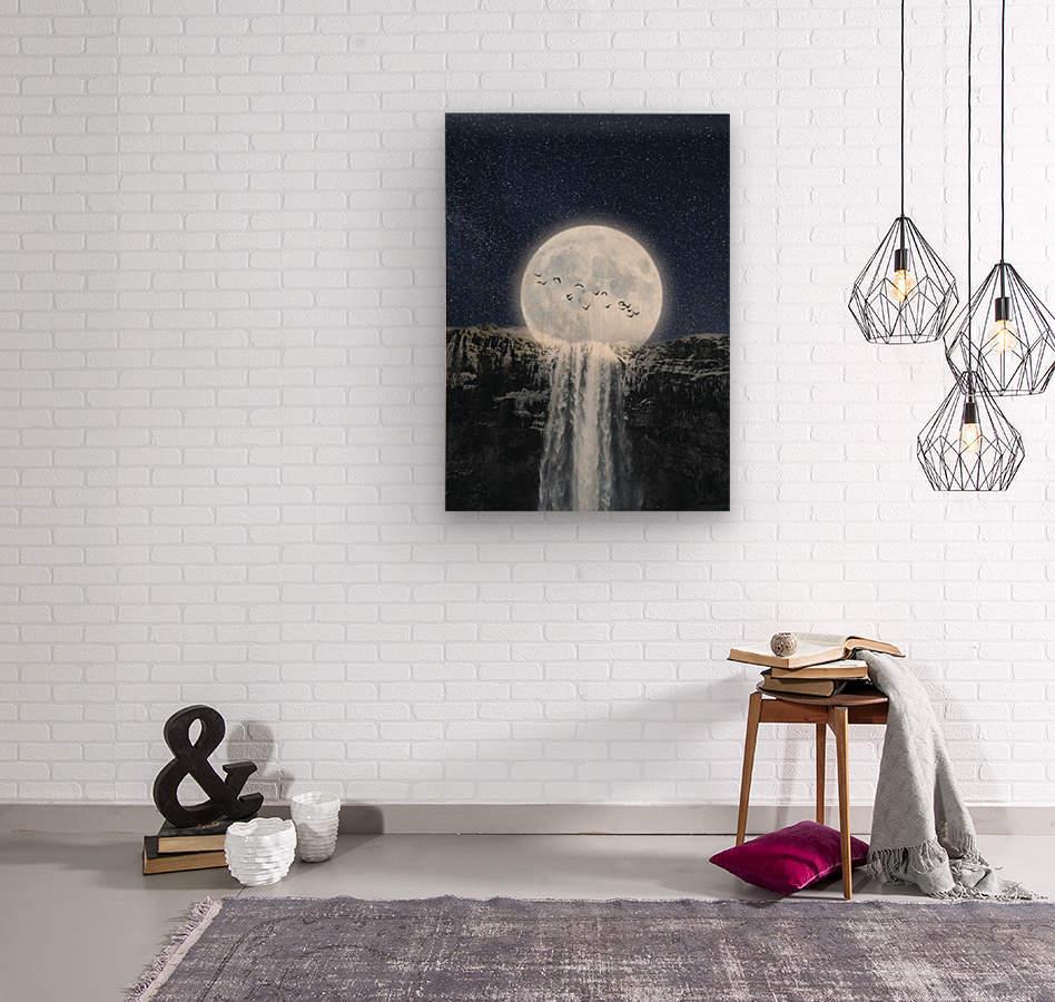 Moon Waterfall Fantasy  Wood print