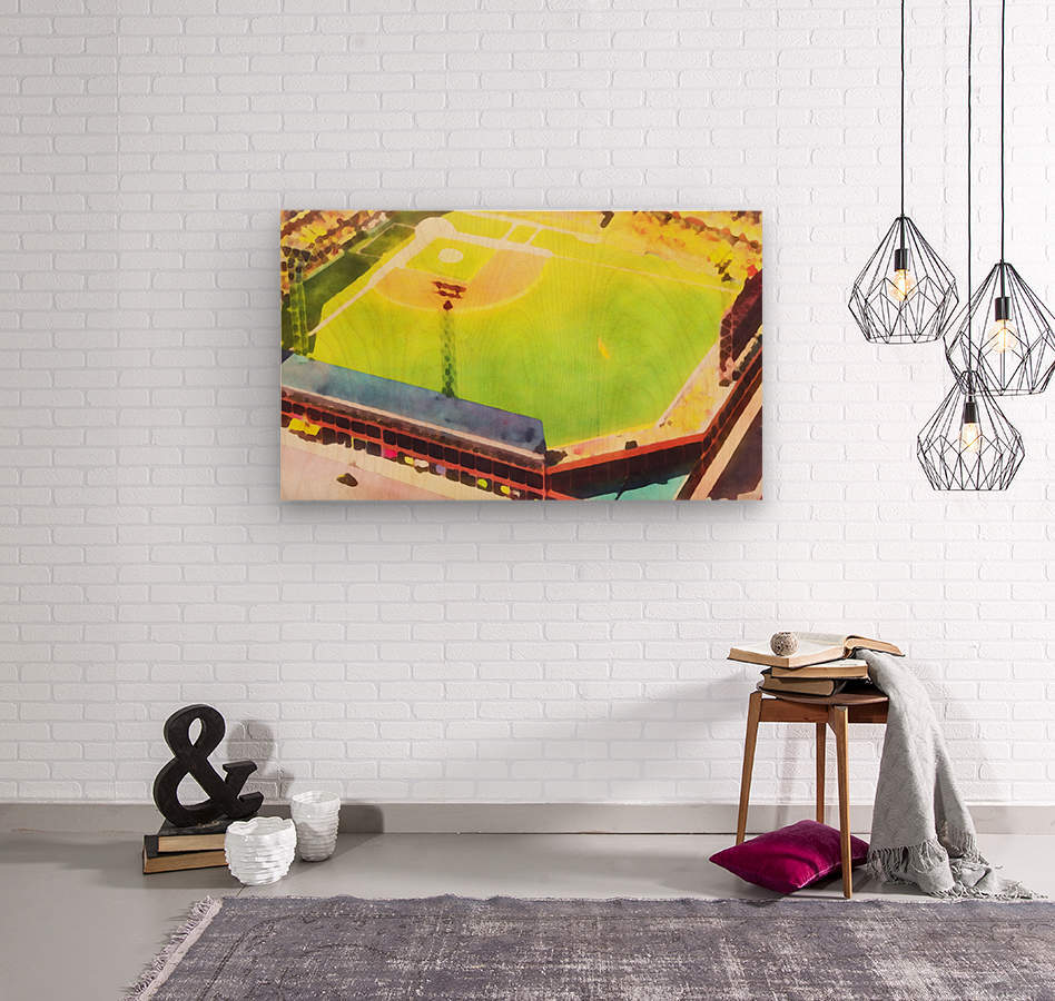 Baseball Ballpark Colorful Art Print  Wood print