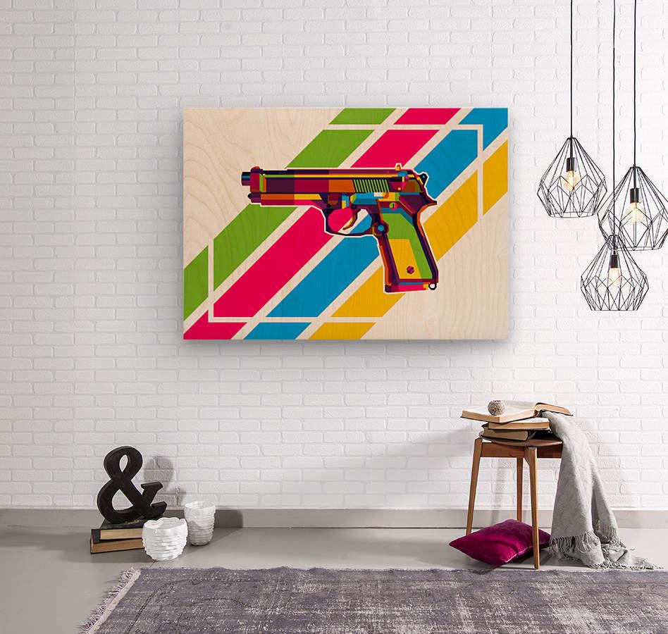 Classic Handgun  Wood print