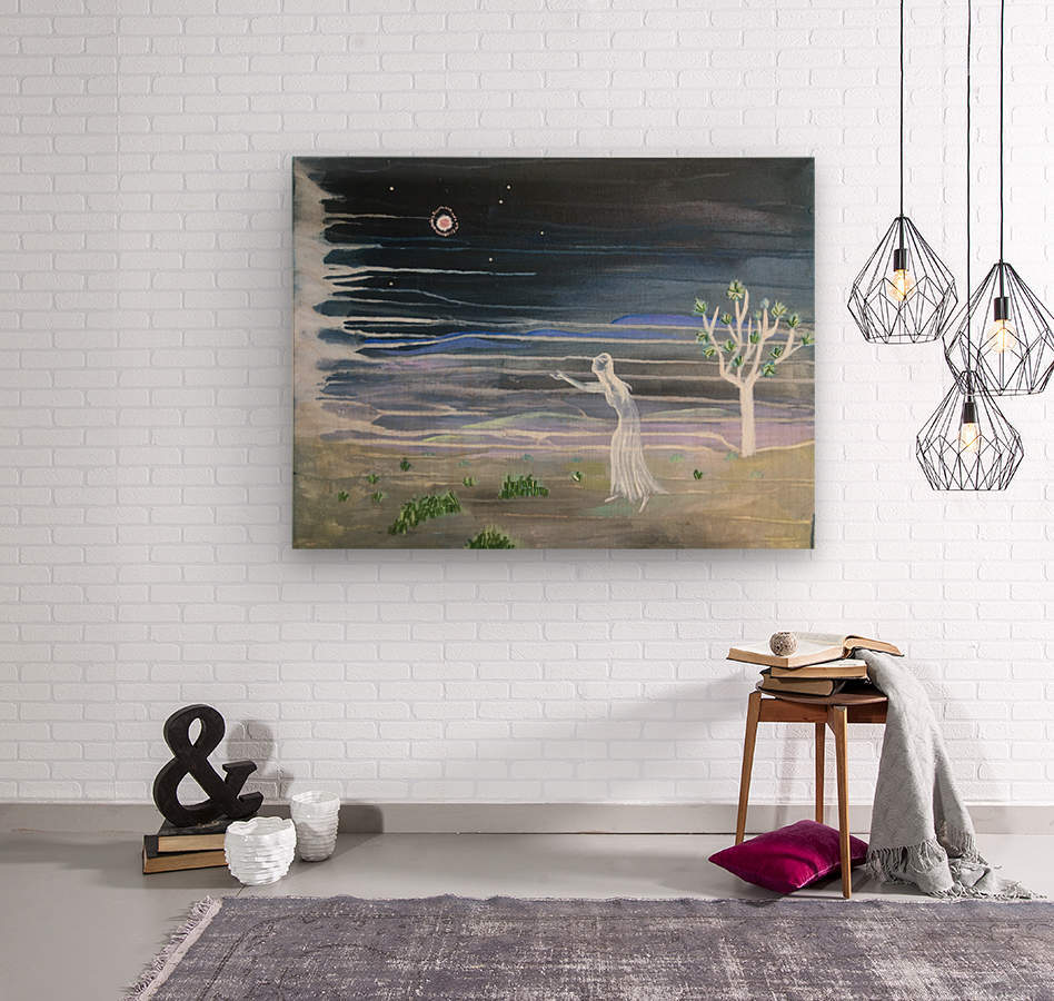 She chased the moon  Wood print
