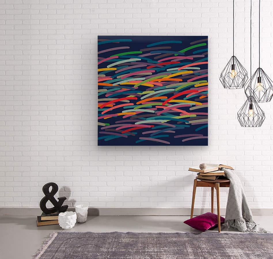 REAL1 Dark blue Background  Wood print