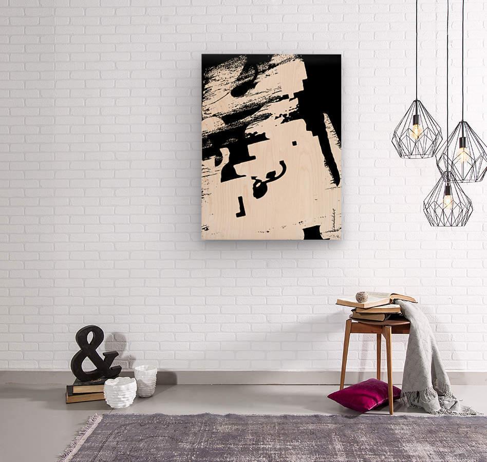 Black & White Form Texture Art D3200 1267  Wood print