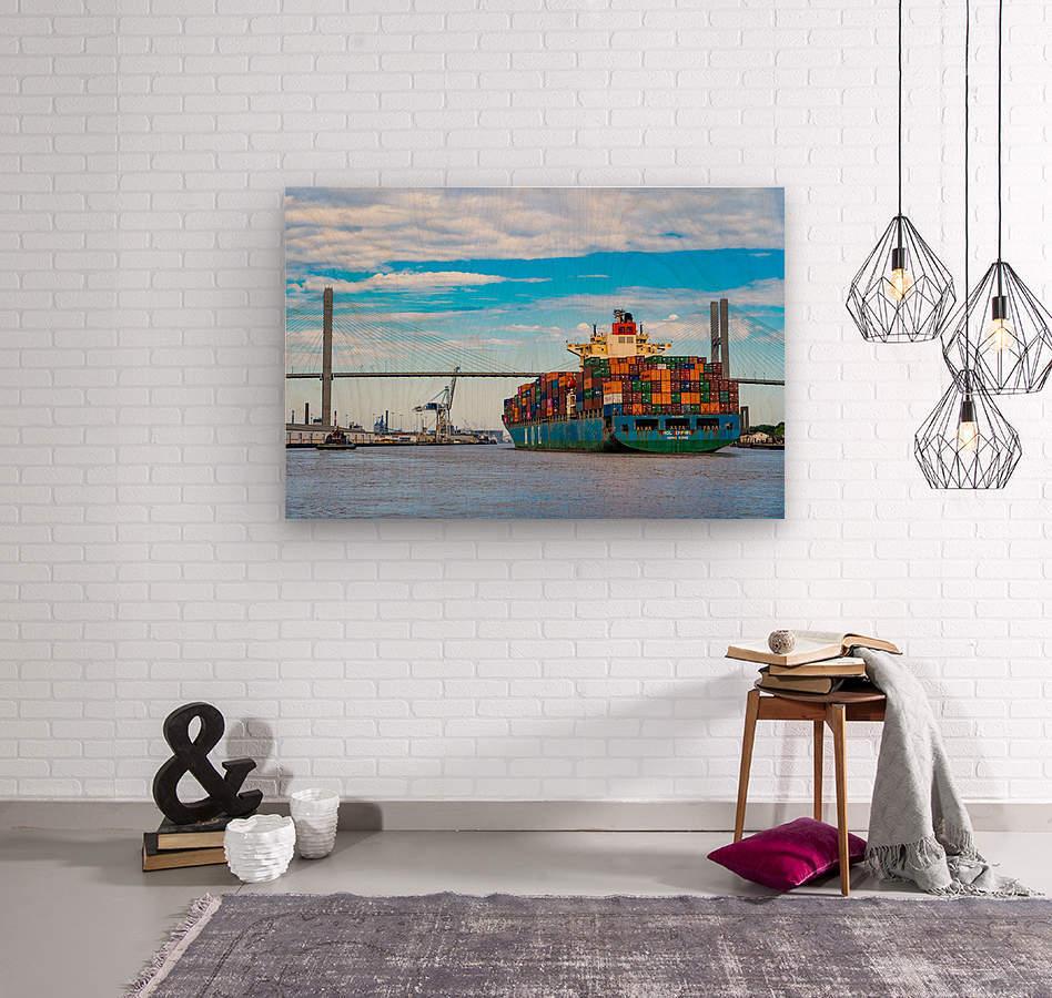 Cargo Ship on the Savannah River 04044  Wood print