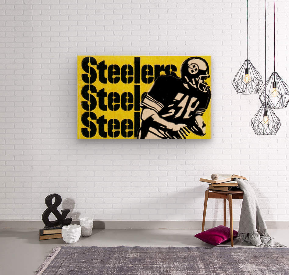 Row One Brand Vintage Pittsburgh Steelers Football Art Print Art Reproduction (1974)  Wood print