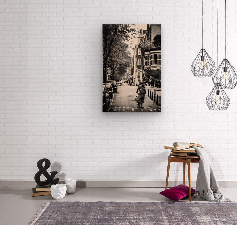 Raining in Amsterdam  Wood print