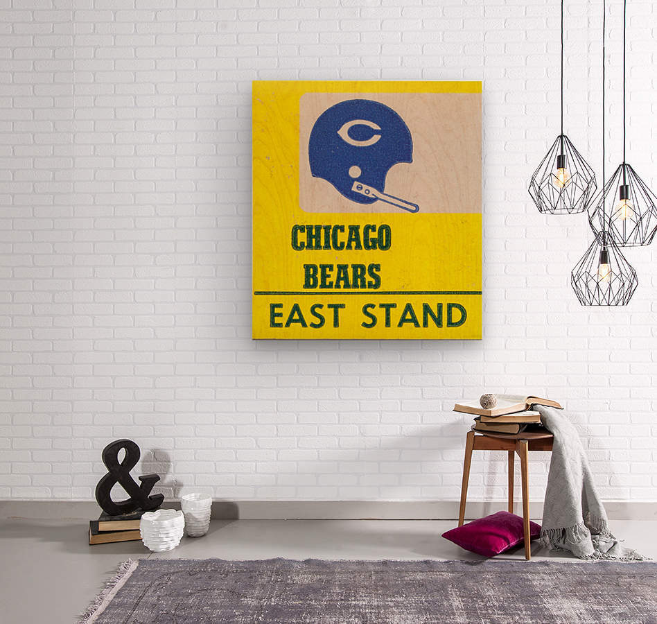 vintage chicago bears art poster metal canvas  Wood print
