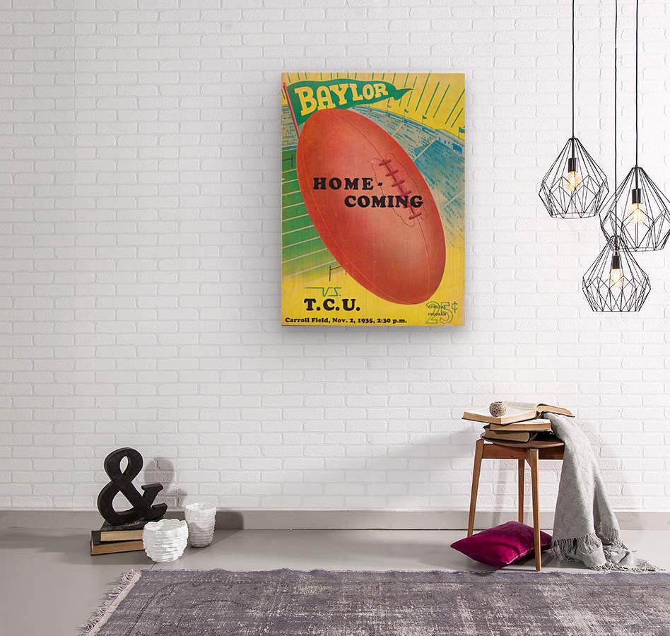 1935 College Football Program Cover Art Poster  Baylor Bears vs. TCU Football Art Print Posters  Wood print