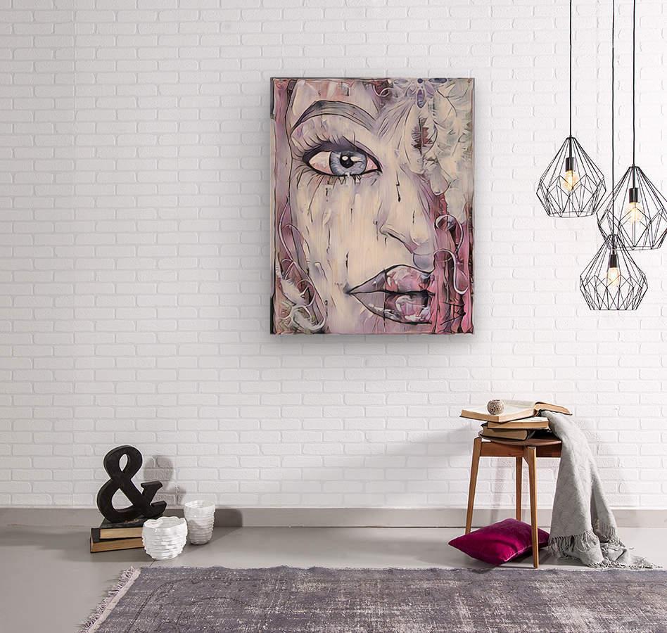 Femme a plumes  Wood print