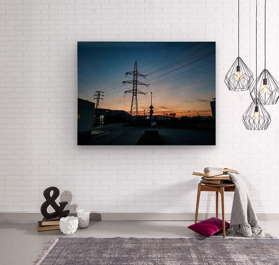 Industrial sunset  Wood print