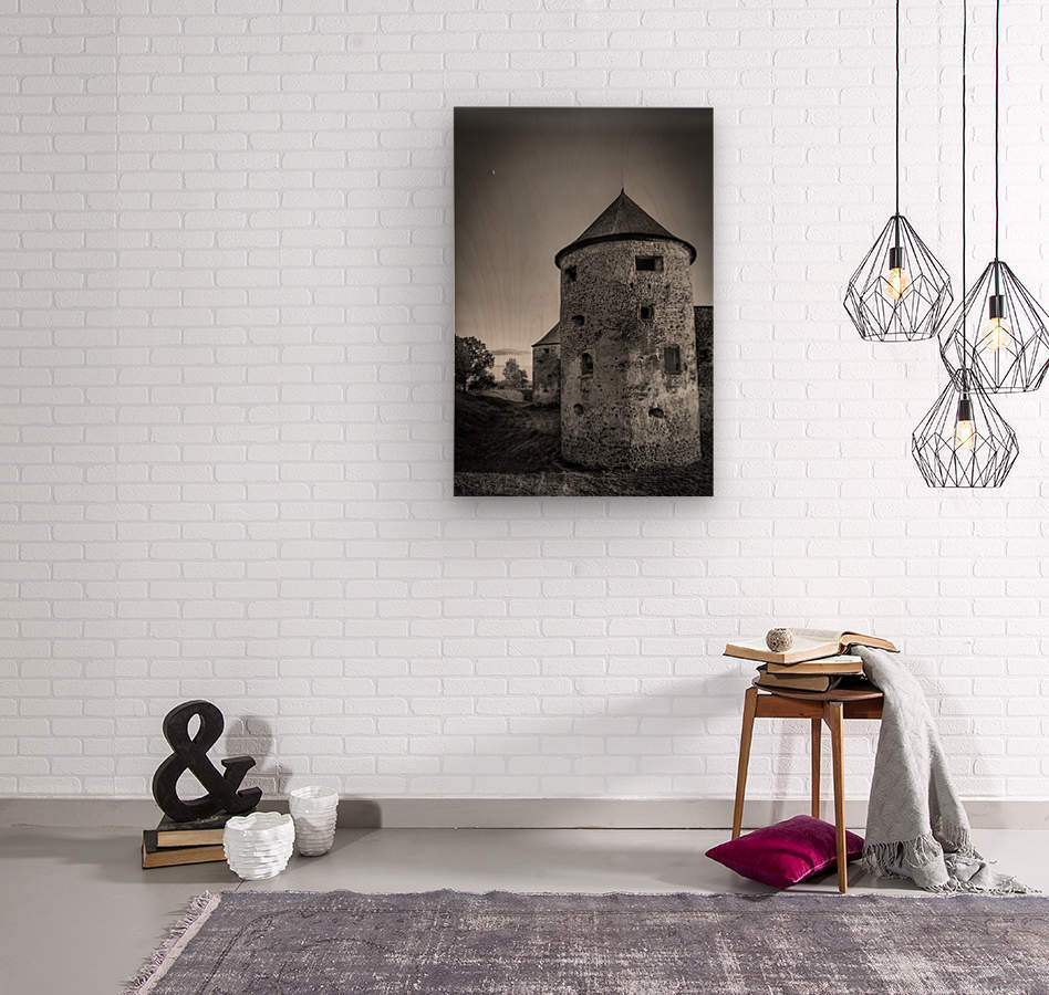Old castle tower  Wood print
