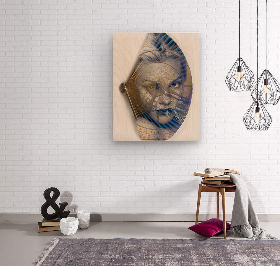Face with clock and fan  Wood print