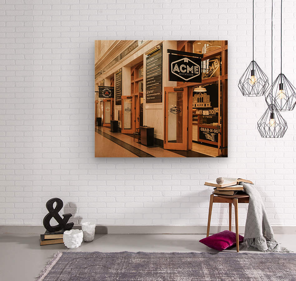 Old town America at train station  Wood print