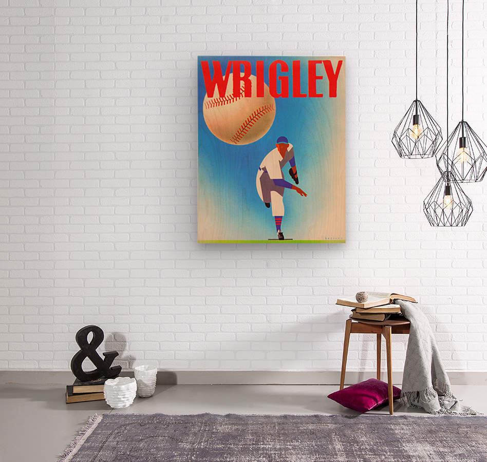 Row One Brand Sports Art Remixes_Public Domain Sports Art Remix_Chicago Cubs Wrigley Poster  Wood print