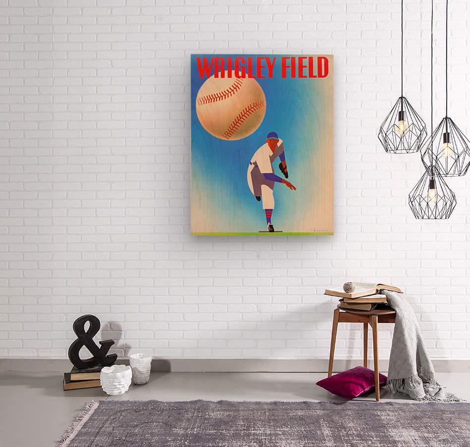 RowOneBrandWrigleyFieldArtRemixes_PublicDomainSportsArtRemixes_ChicagoCubsPoster  Wood print