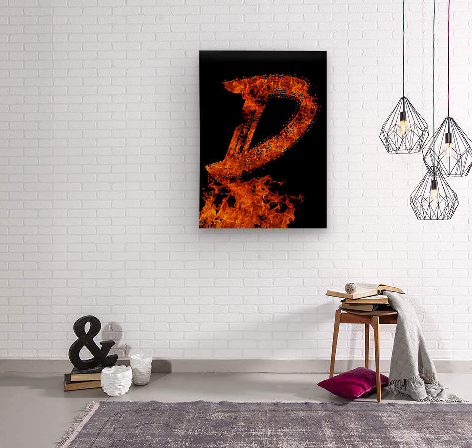 Burning on Fire Letter D  Wood print