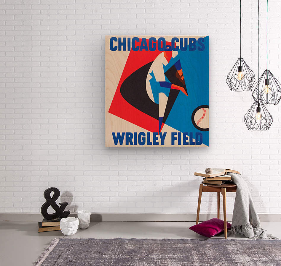 Retro_Remix_Sports_Program_Scorecard_Posters_Row_One_Chicago_Cubs  Wood print