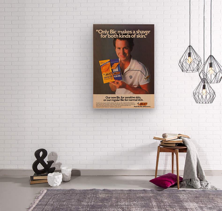 row one vintage sports ads retro bic shaver john mcenroe tennis poster  Wood print