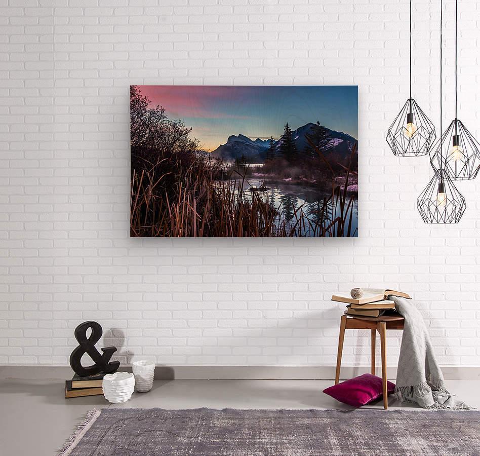 Vermilion Lakes Mist  Wood print