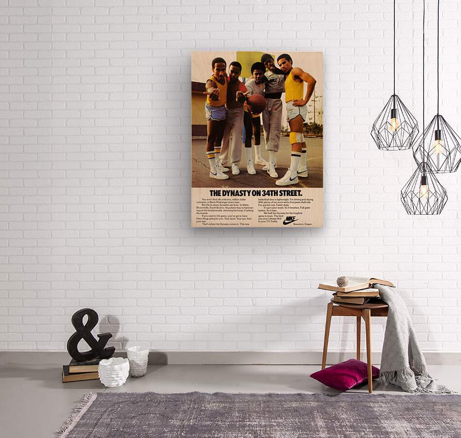 1981 vintage nike shoe ads dynasty on 34th street retro basketball poster  Wood print