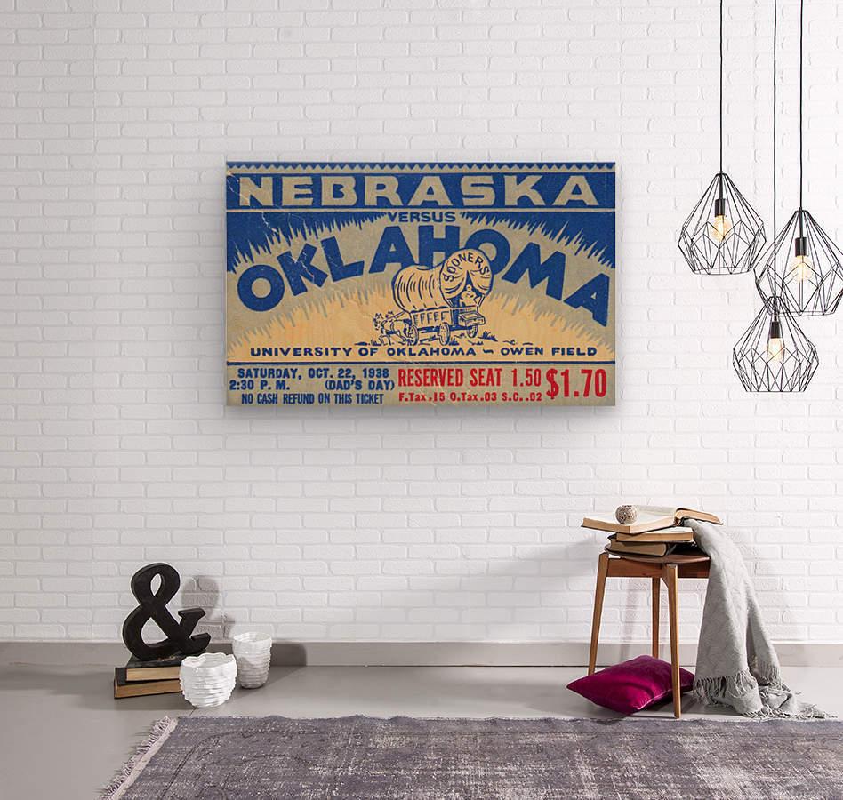 oklahoma football metal sign sooners ticket stub collection row 1 row one vintage sports art brand  Wood print