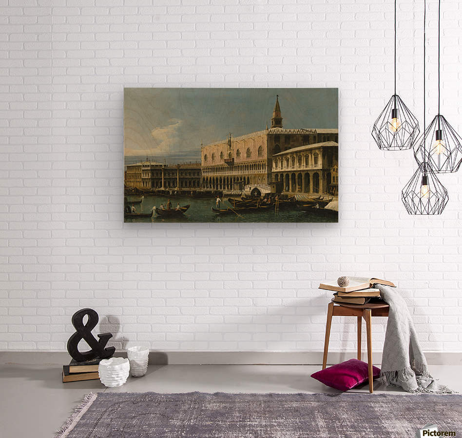 Venice, a view of the Molo, looking West, with the Palazzo Ducale and south side of the Piazzeta  Wood print