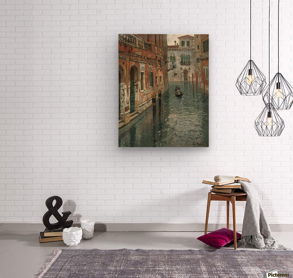 Along the canal in Venice  Wood print