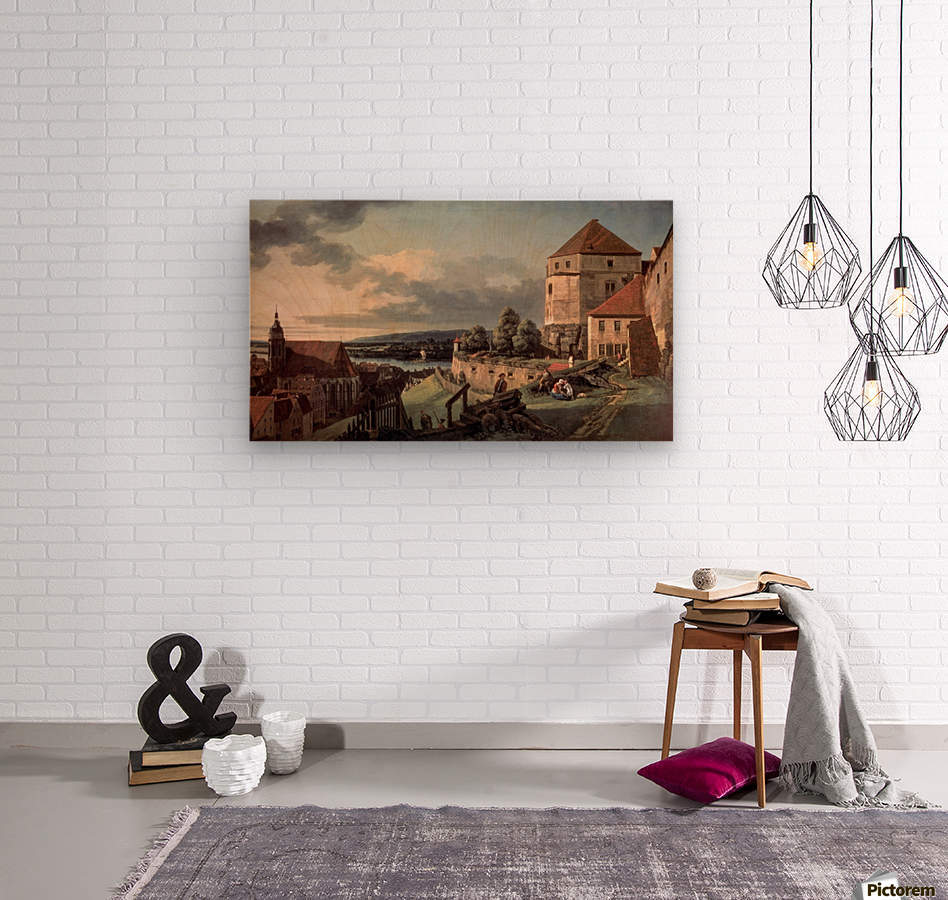 Landscape with castle and river  Wood print