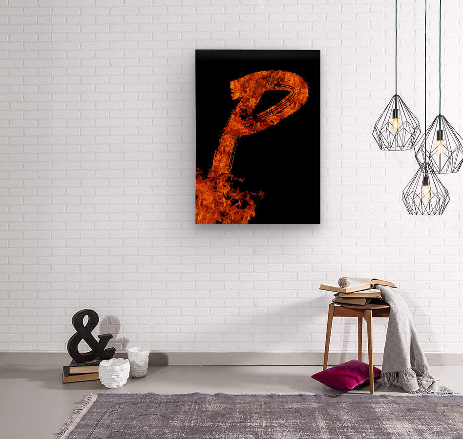 Burning on Fire Letter P  Wood print