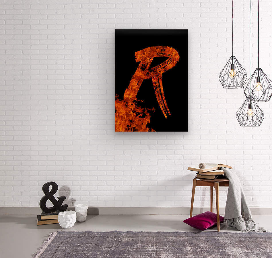 Burning on Fire Letter R  Wood print