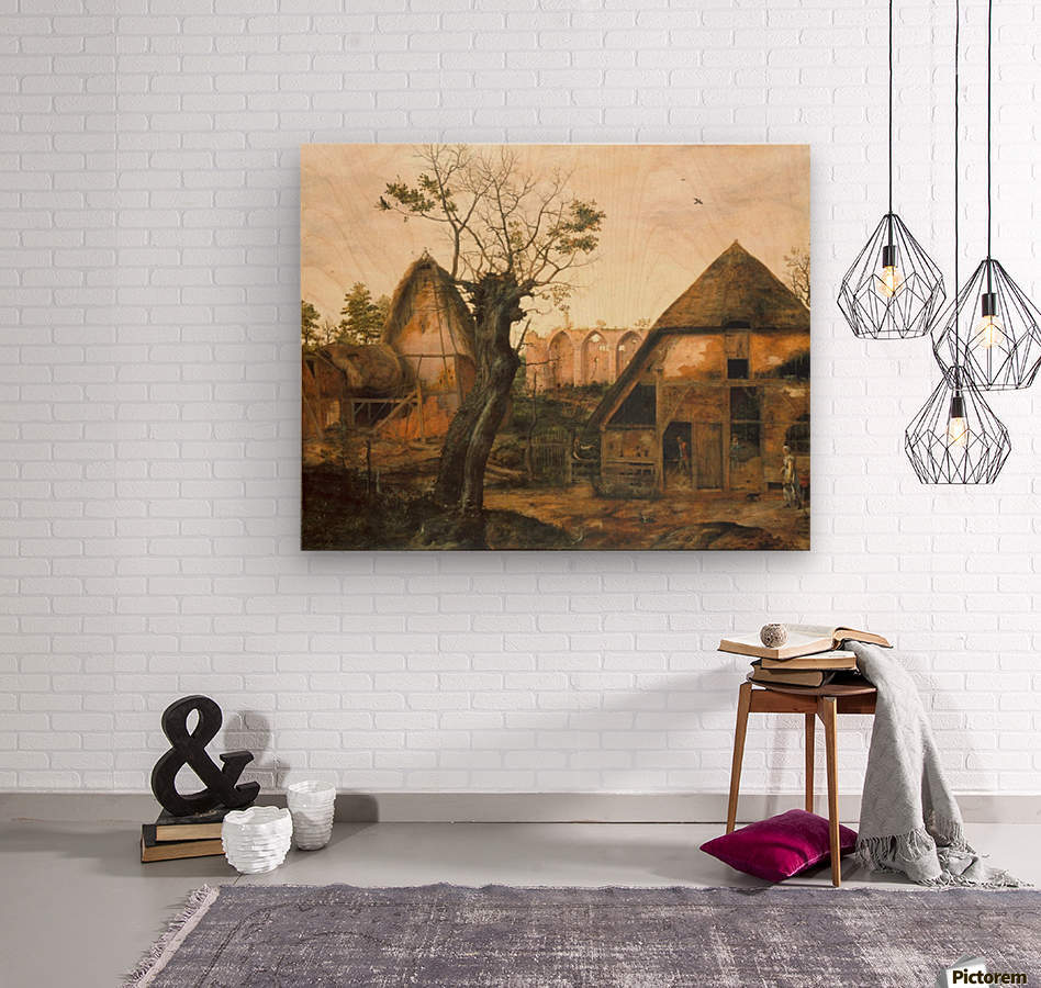 Landscape with Farmhouse  Wood print