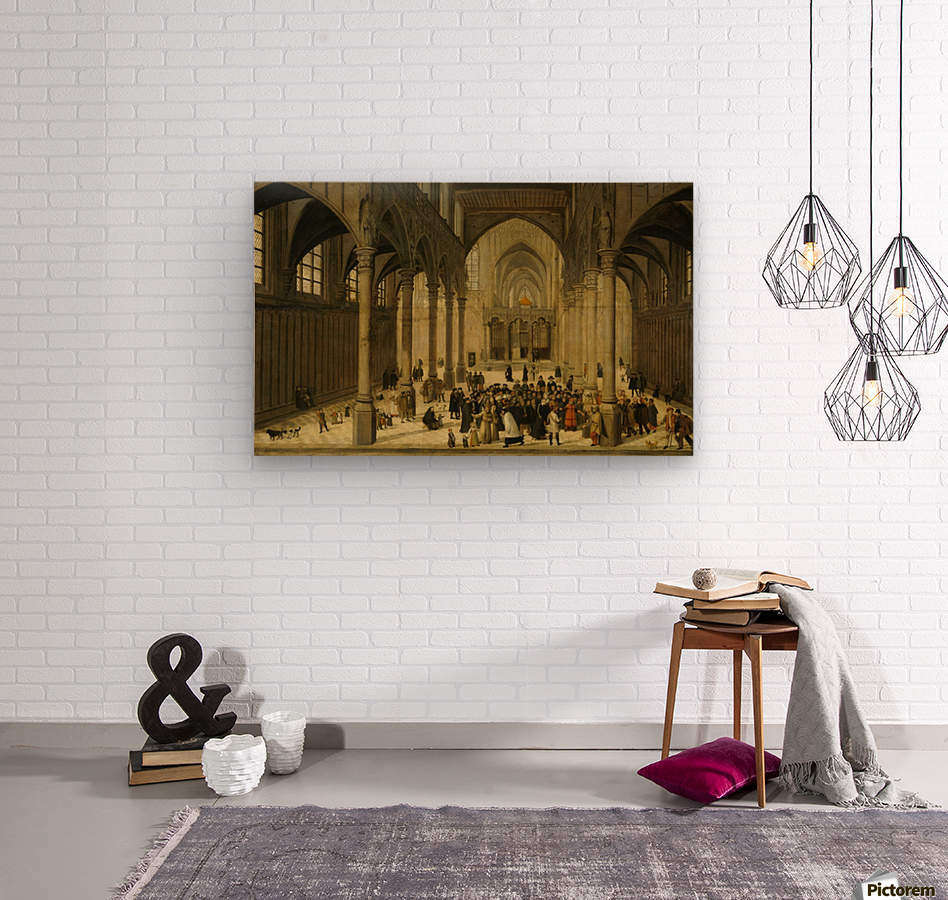 Church interior with Christ preaching to a crowd  Wood print
