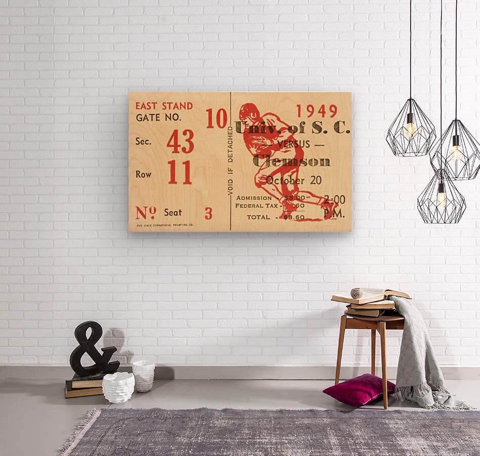 1949 south carolina gamecocks palmetto bowl ticket stub wall art metal sign wood prints  Wood print