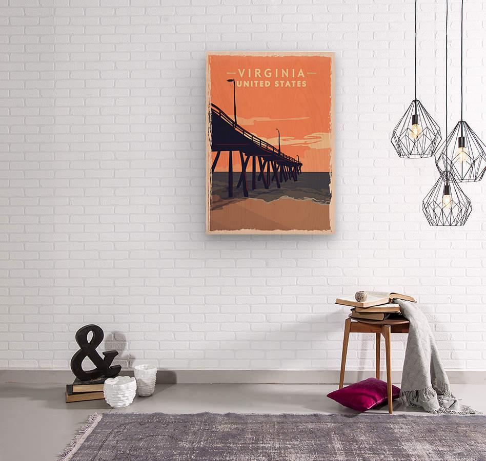virginia retro poster usa virginia travel illustration united states america  Wood print