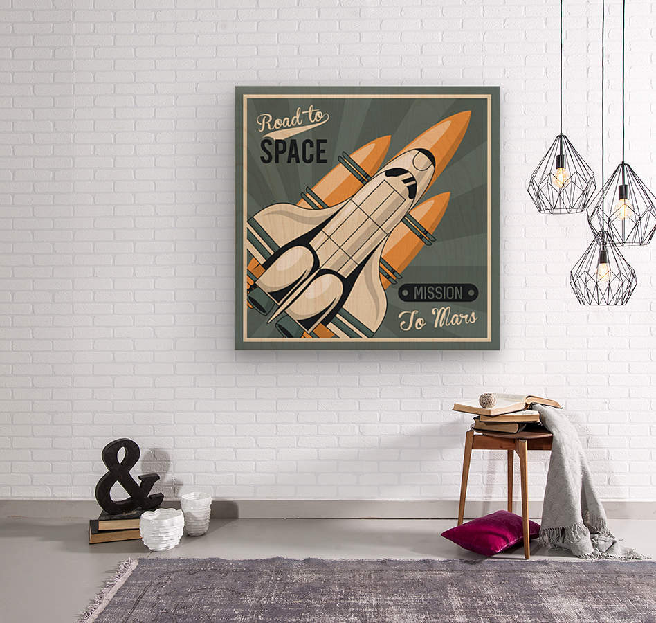 Life space poster with mars rocket rockets vintage  Wood print