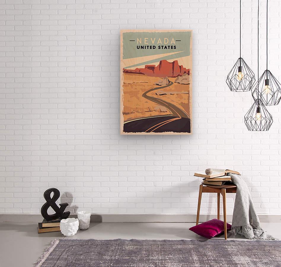 nevada retro poster usa nevada travel illustration united states america  Wood print