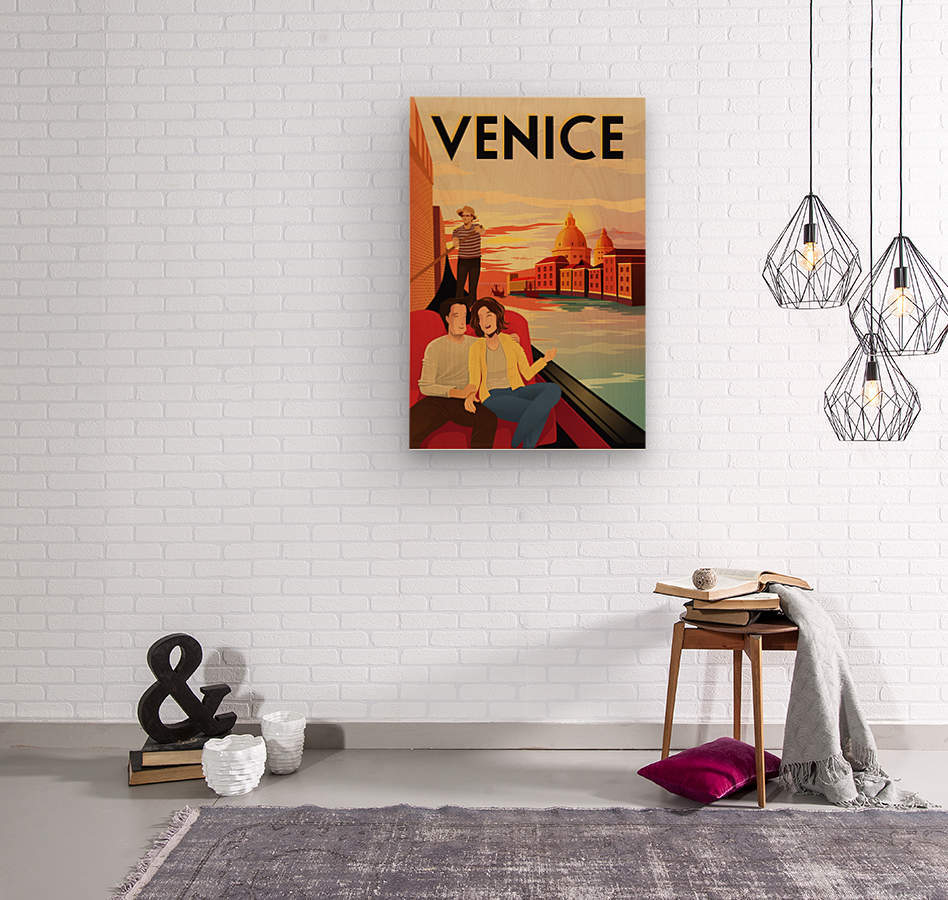 venice travel poster  Wood print