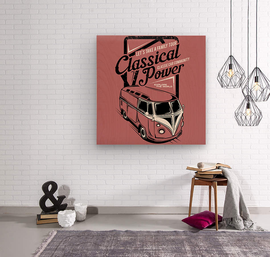 Lets take family tour classical power illustration classic family car  Wood print