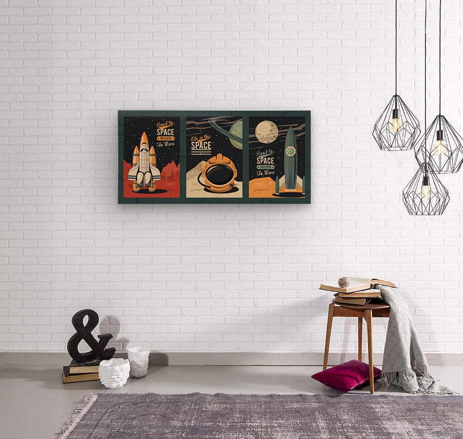 Life space poster with set scenes  Wood print