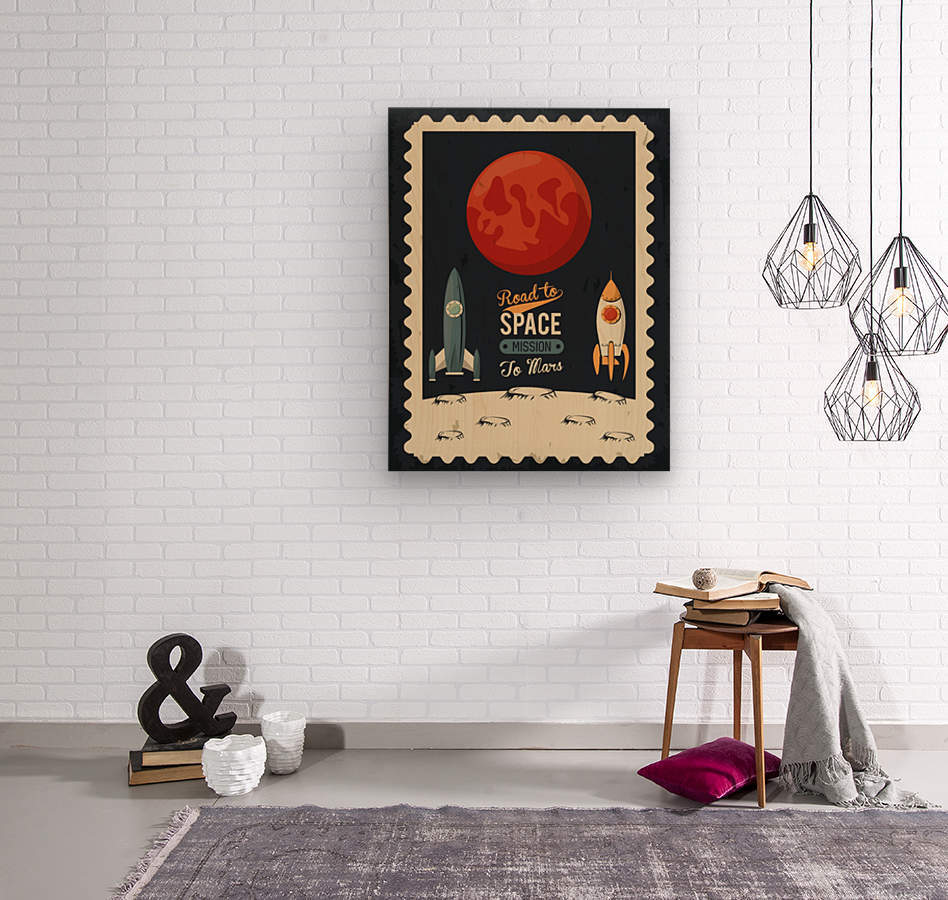 Life space poster with mars rocket rockets  Wood print