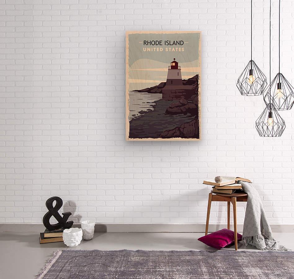 Rhode island retro poster usa rhode island travel illustration united states america  Wood print