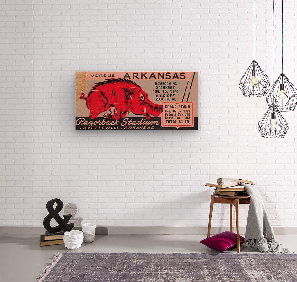1941 Arkansas Razorbacks Ticket Stub Art  Wood print
